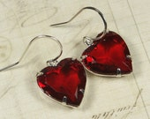 Vintage Rhinestone Earrings Sterling Silver Ruby Red Hearts Vintage Valentines Day Bridal Bridesmaid Earrings Love - Clip Ons Available