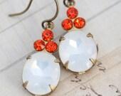 Clearance October Birthstone Earrings Vintage Earrings - Antique White Opal Glass & Orange Tangerine Rhinestones
