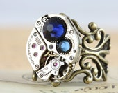 Steampunk Ring Unique Rings Steam Punk Jewelry Statement Ring Navy Ring Watch Ring Swarovski Crystal Ring Filigree Blue Ring Clockwork