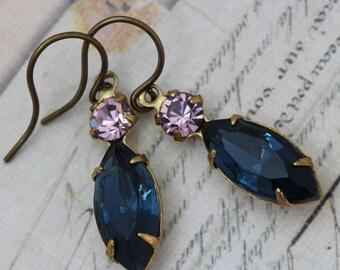 Vintage Earrings - Navy Purple Earrings Dangle Earrings Montana Blue Sapphire Earrings & Light Amethyst - Bridesmaids Earrings