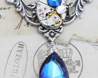 Steampunk Necklace  Steampunk Jewelry - Bermuda Blue Clockwork - Unique Jewelry Unique Gift Pear Handmade by Inspired by Elizabeth