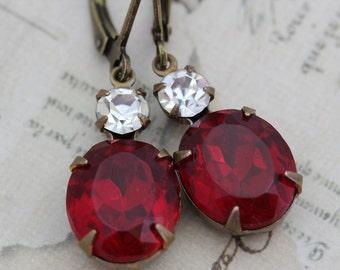 Vintage Ruby Glass Earrings -  Ruby Red Antique Rhinestone Earrings & Swarovski Crystals Wedding Jewelry