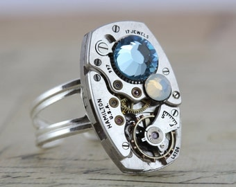 Sterling Silver Steampunk Ring Steam Punk Jewelry Aquamarine Ring Opal Ring March Birthstone Ring October Birthstone Ring Swarovski Crystals