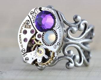 Mothers Ring CUSTOM Birthstone Ring Steampunk Ring Personalized Grandmothers Ring