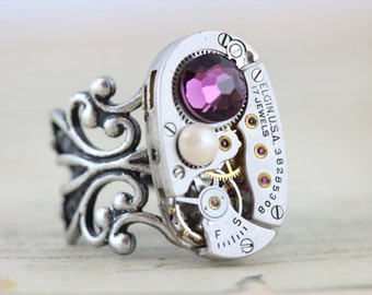 Mothers Ring Steampunk Jewelry Custom Made Jewelry Vintage Watch Ring Birthstone Ring Grandmothers Ring Elgin Inspired by Elizabeth