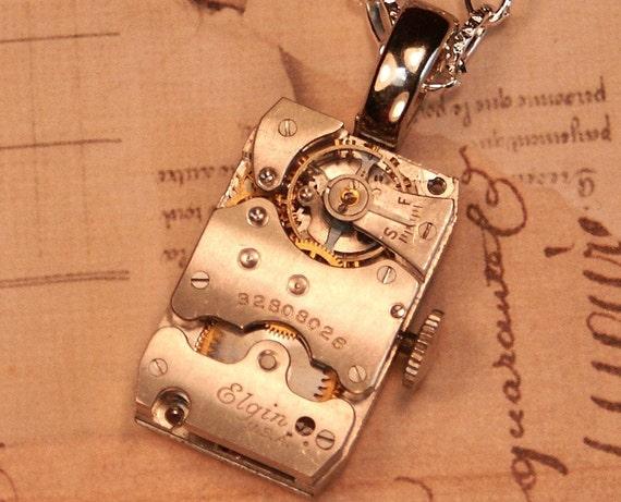 """Steampunk Necklace,  Vintage Rectangle Elgin Watch Movement, Unique Wave Pattern, 18"""" Chain,"""