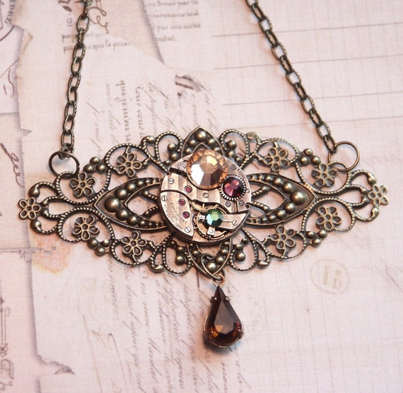 "Steampunk Jewelry Necklace, Very Special Piece - Antique Copper Fillagree Pendant , Vintage Round Watch Movement, 18"" Chain,  Champagne, Dark Amethyst/Topaz & Deep Emerald Green Swarovski Crystals"