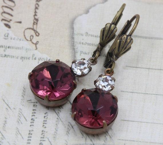Vintage Earrings Bridesmaids Bridal Jewel - Antique Amethyst Purple & Crystal Clear - Handmade by Inspired by Elizabeth