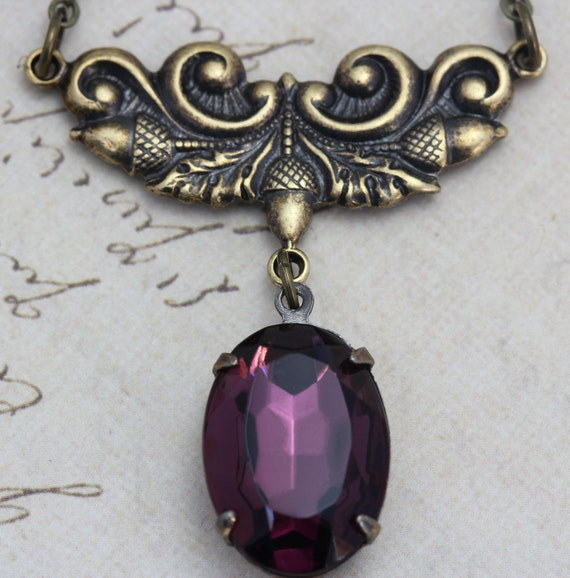 Vintage Amethyst Purple Necklace - Victorian Antique Brass Detailed Focal - Handmade by Inspired by Elizabeth