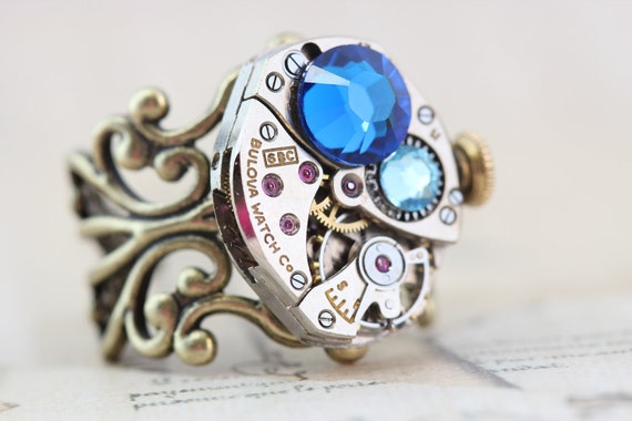 Steampunk Ring Steam Punk Jewelry - Vintage Bulova Watch Movement - Blue - Handmade by Inspired by Elizabeth
