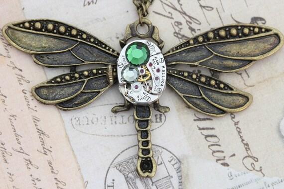 Steampunk Necklace Steam Punk Dragonfly Jewelry - Vintage Elgin Watch - Green Swarovski Crystal
