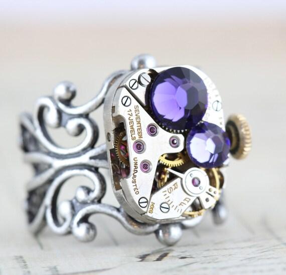Steampunk Ring Steam Punk Jewelry - Vintage Clockwork Ring - Purple Velvet Tanzonite Swarovski Crystal