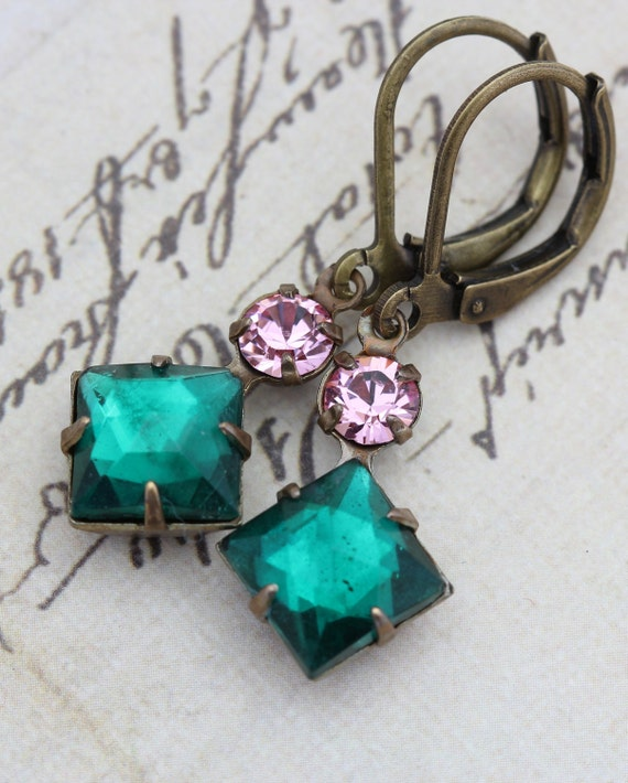 Vintage Earrings - Vintage Rhinestone Jewel Emerald Green & Pink Swarovski Crystals Clip Ons Available