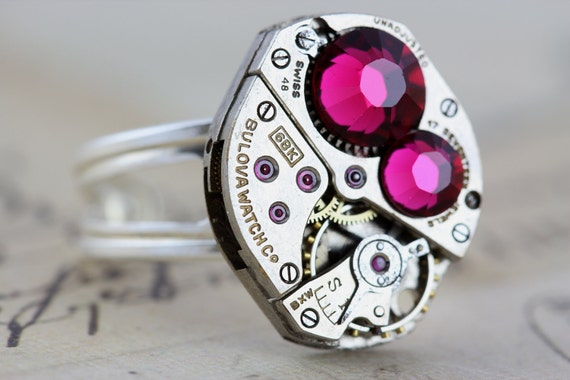 Steampunk Ring Sterling Silver Steam Punk Jewelry - Fuchsia Pink - Vintage Watch Clockwork Ring - Swarovski Crystals