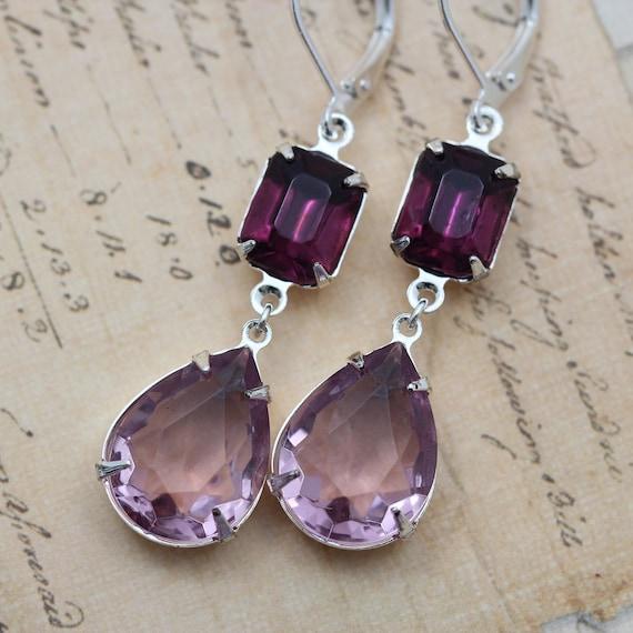 Custom Order for Kelly Amethyst Purple Earrings Silver 4 Bridesmaids Earrings & 4 bracelets