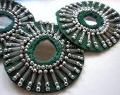 SALE - Bellydance costume- 4 Green mirror base Medallions- SAI9