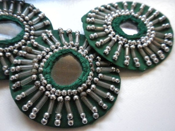 SALE - Bellydance costume- 4 Green mirror base Medallions- SAI9