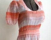 1940s Pink Striped Cotton Seersucker Maxi Dress with 20 Foot Sweep M L