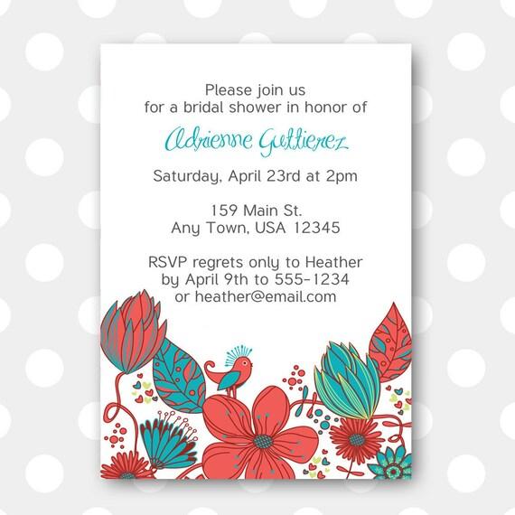 Printable Bridal Shower Invitation - Floral Garden