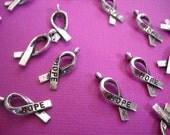 Awareness Charms-Cancer Awareness-Ribbon Charms-Hope Charms-50pcs Awareness Ribbon Charms Antiqued Silver