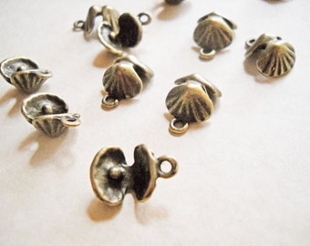 Seashell Charms Shell Charms Clam Charms Ocean Charms Nautical Antiqued Bronze 10pcs