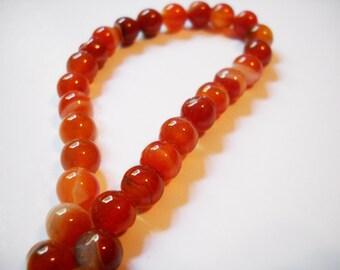 Agate Gemstone Beads Burnt Orange White Swirled Gemstone Beads Full Strand 46 pieces