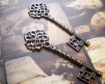 Bulk Skeleton Keys-Antiqued Copper Keys-Copper Key Pendant-Wholesale Keys-Copper Keys-Steampunk Keys-Key Favors  20 pieces
