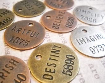 Assorted Charms Word Charms Pendants Inspirational Charms Assorted Metals Copper Silver Bronze Philosophy Tags-12pcs