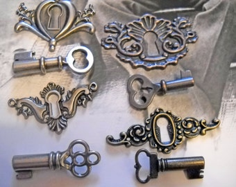 Key and Key Hole Sets-Assorted Metals-Copper,Silver,Bronze-5 Sets: 40pcs PREORDER