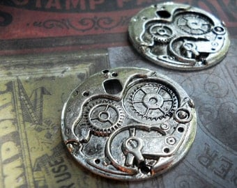Large Gear Pendants Charms Antiqued Silver Steampunk Pendants Steampunk Supplies 38mm