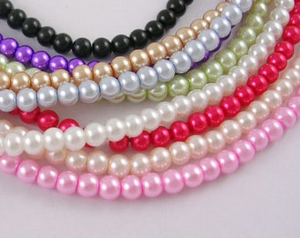 Glass Beads Bulk Beads Wholesale Beads Assorted Beads Glass Pearls 10mm Beads 10mm Glass Pearls 10mm Glass Beads 340 pieces 4 strands