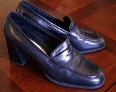 Black LEATHER Loafers, Heels, Liz Claiborne, size 6