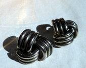 Sterling Silver Clip Earrings, 1950's, Knot design