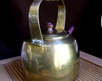 rustic TEA KETTLE, solid Brass with Copper Spout, wooden Handle