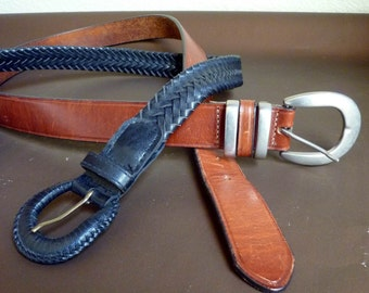 Lot of 2 Belts,  1 Genuine Leather, 1 quality simulated leather