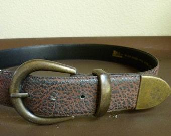 Vintage Leather Belt, Dark Brown, Oxidized Brass Buckle