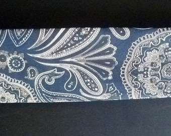 vintage PAISLEY Necktie, Navy blue, Brown and Beige, unisex fashion