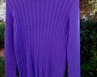 EVAN PICONE... Purple Cableknit turtleneck Sweater, size petite medium, quality