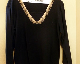 REDUCED...Stitched and Beaded Neckline, Black Sweater, Size women's small