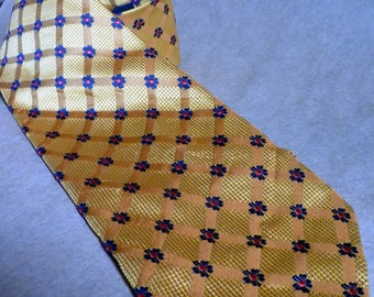 perfect EASTER tie,100% SILK Necktie, yellow gold /  Navy Blue Flowers with RED centers