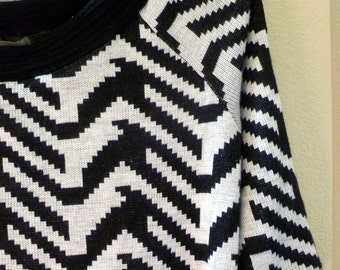 REDUCED...Sweater Tunic or DRESS, Black and White Geometric pattern, Size 14