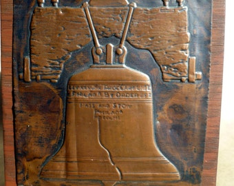 Copper Tooled, historic FOLK ART plaque of the LIBERTY Bell