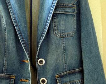Denim Blazer jacket, single breasted, Size large