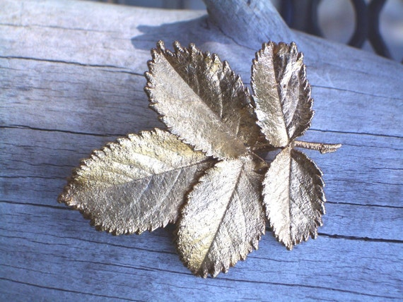 BROOCH, Real rose leaves/ Gold dipped