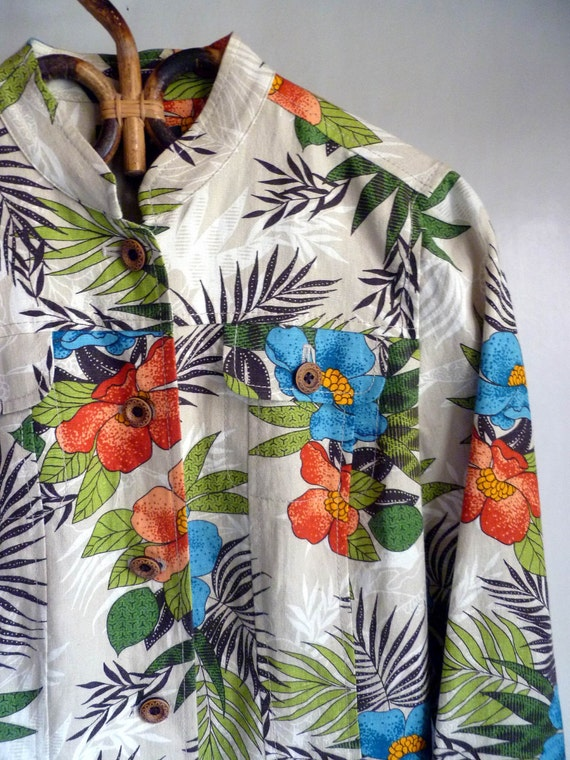 Tropical print Jacket, Linen and cotton, size petite small