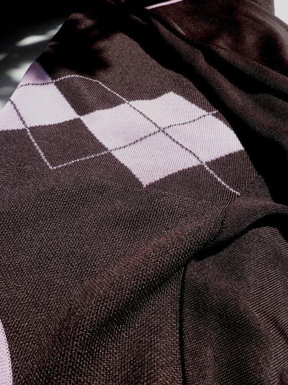 Women's Argyle jersey SWeater, Golf attire, Chocolate and pink