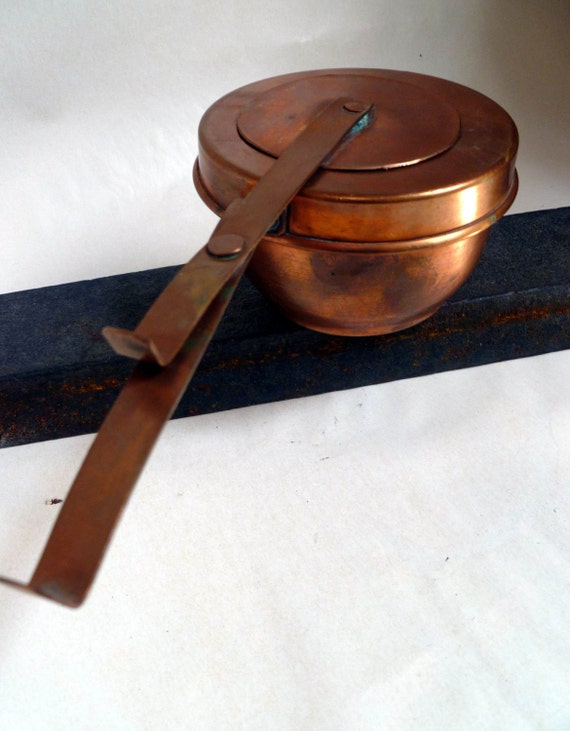 Food Warmer Candle ~ Antique solid copper sterno or candle burner food warmer