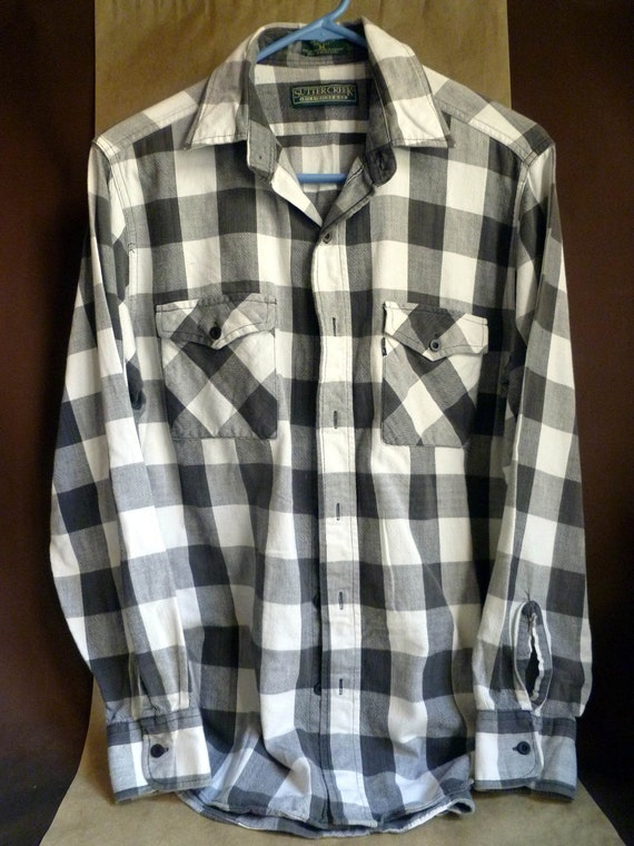 Cotton Buffalo Check Shirt Black And White By