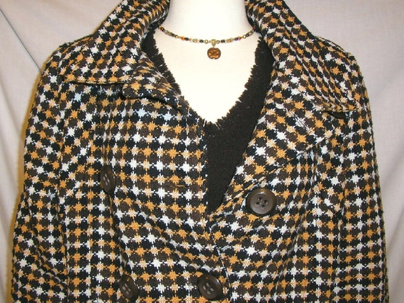 SALE 60s MOD Oleg Cassini Brown Check Wool Blend Double Breasted Coat/Jacket size XL