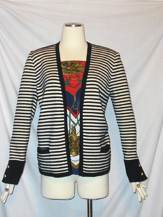 SALE Vtg 80's VALENTINO Studio Italy Navy Blue Striped Cardigan Open Sweater sz 42/8